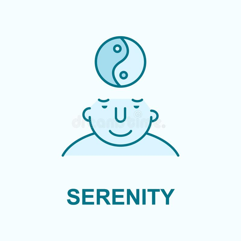 Serenity on mind field outline icon. On light background vector illustration