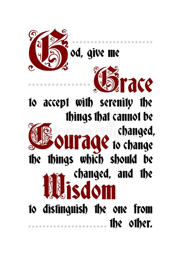 The Serenity prayer poster lettering text. Poster vector gothic font royalty free illustration
