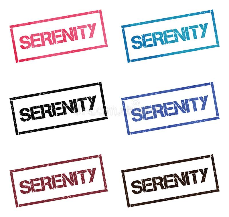 SERENITY rectangular stamp collection. Textured seals with text isolated on white backgound. Stamps in turquoise, red, blue, black and sepia colors. Colourful royalty free illustration