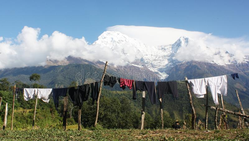 Serenity view along the hiking trail in Nepal royalty free stock image