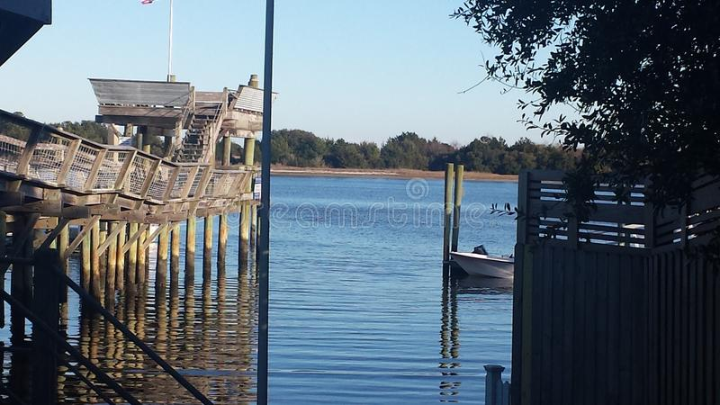 Serenity of the waterway. Tranquil view of the Intercoastal waterway in SE North Carolina stock photos