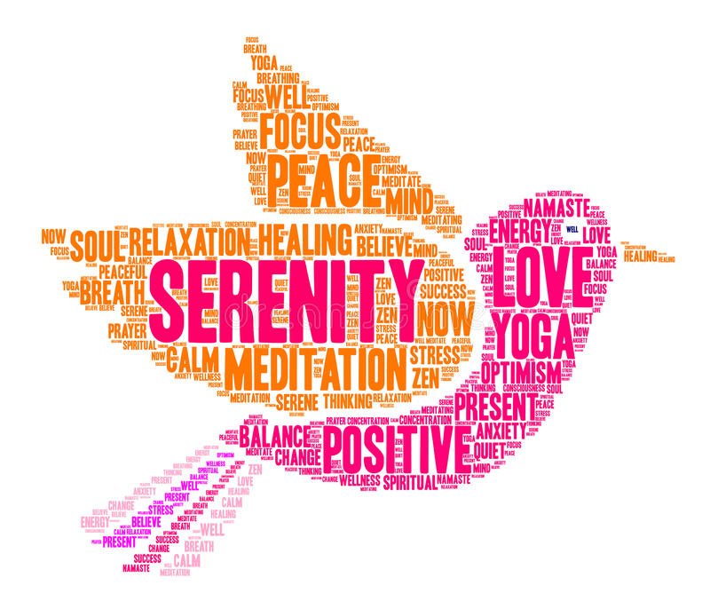 Serenity Word Cloud. On a white background vector illustration