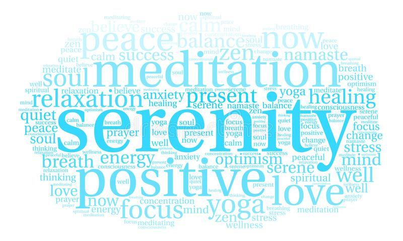Serenity Word Cloud. On a white background stock illustration