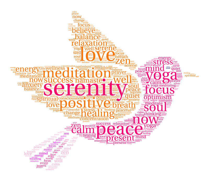 Serenity Word Cloud. On a white background royalty free illustration