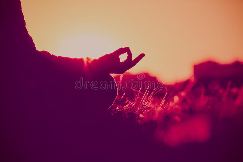 Serenity and yoga practice at sunset stock photo