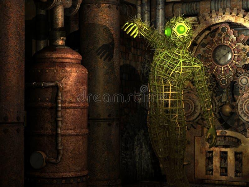 Seres de Extraterrestrial no quarto de motor ilustração stock