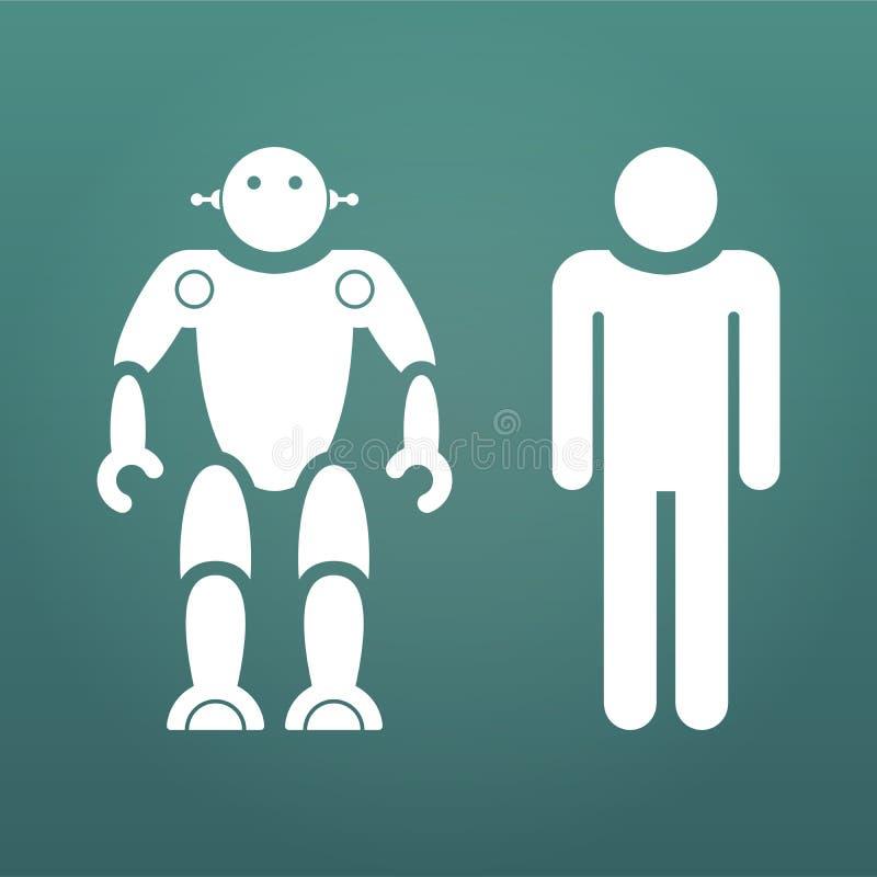 Seres humanos contra ícones do branco dos robôs Ilustração do negócio do conceito Ilustração do vetor isolada no fundo moderno ilustração royalty free