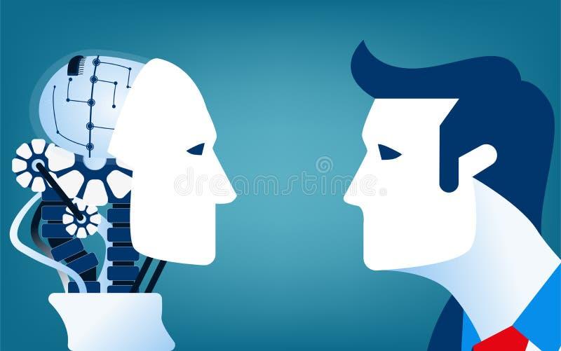 Seres humanos contra los robots Ejemplo del negocio del concepto imagen de archivo