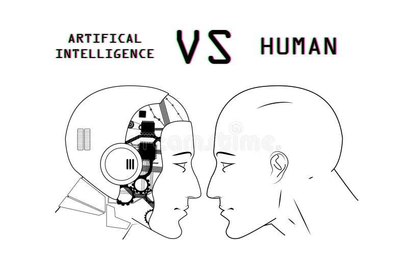 Seres humanos contra robôs ilustração do vetor