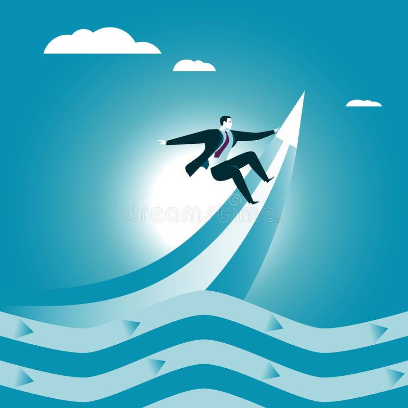 Business serfing. Wave up. royalty free illustration