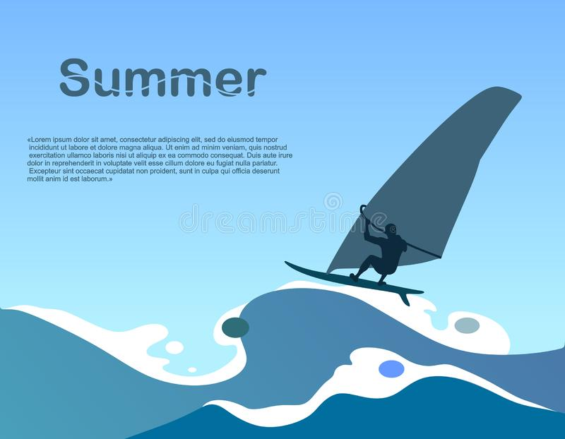 Summer and sea background with stylized and abstract waves and a surfer. Vector illustration stock illustration