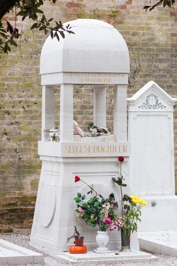 Sergei Diaghilev Grave, San Michele Cemetery, Veneza, Itália fotografia de stock