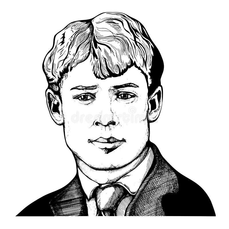 Sergei Yesenin gravou o retrato do vetor com contornos da tinta ilustração stock
