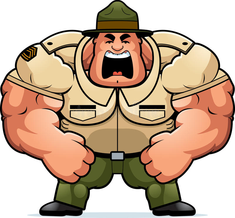 Sergent instructeur de bande dessinée Yelling illustration de vecteur