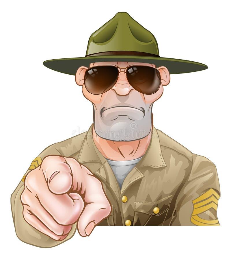 Sergent instructeur de pointage fâché illustration de vecteur