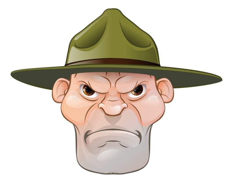 Sergente istruttore arrabbiato Cartoon illustrazione vettoriale