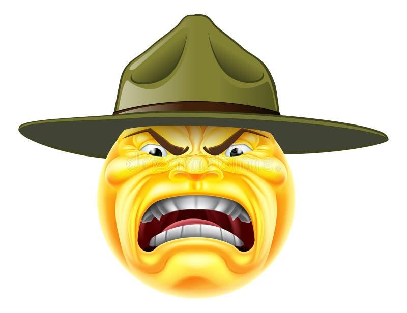 Sergente istruttore arrabbiato dell'emoticon di Emoji illustrazione vettoriale