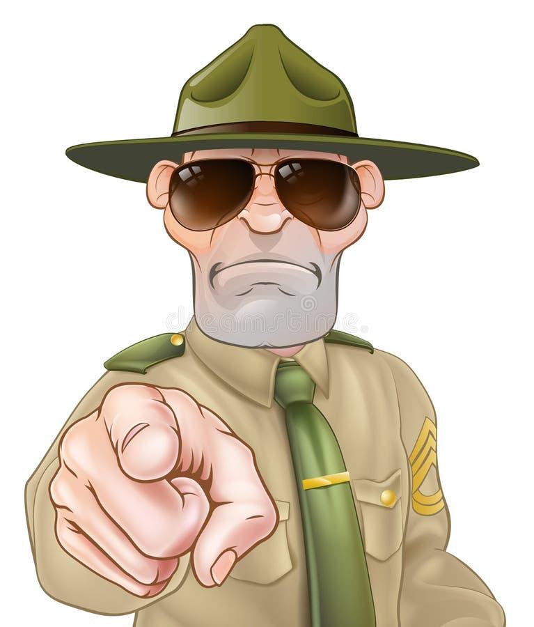 Sergente istruttore arrabbiato Pointing illustrazione vettoriale