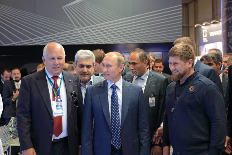 Sergey Chemezov, Vladimir Putin y Ramzan Kadyrov imagen de archivo libre de regalías