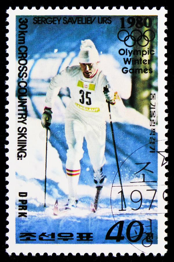 Sergey Saveliev, 30 Km Cross-country Skiing, Winter Olympic Games, Lake Placid 1980 - Medallists serie, circa 1979. MOSCOW, RUSSIA - FEBRUARY 9, 2019: A stamp stock photography