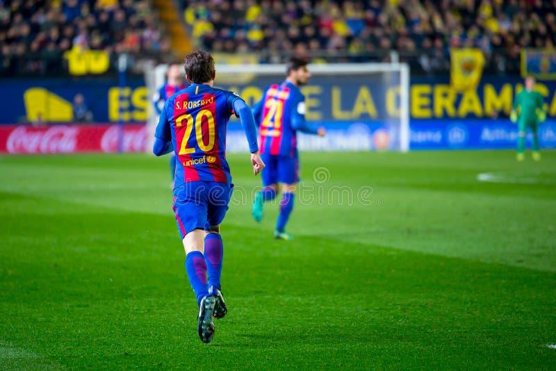 Sergi Roberto plays at the La Liga match between Villarreal CF and FC Barcelona stock photography