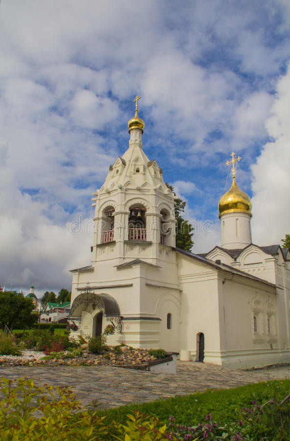 Sergiev Posad, Russia. Territory adjacent to the Temple of Sergius of Radonezh. royalty free stock photo