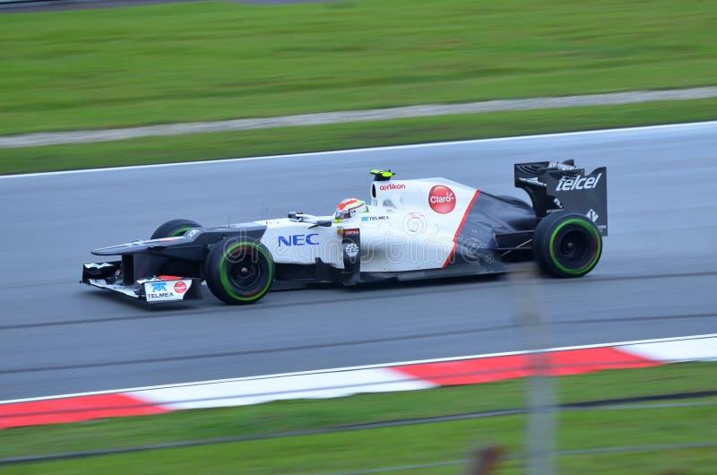 Sergio Perez, team Sauber Ferrari royalty free stock photos