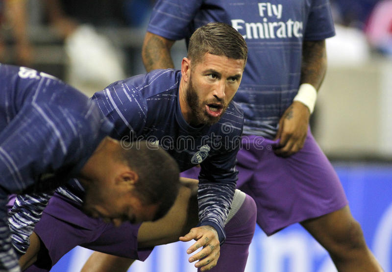 Sergio Ramos of Real Madrid. Before a Spanish League match against RCD Espanyol at the RCDE Stadium on September 18 2016 in Barcelona Spain stock photography