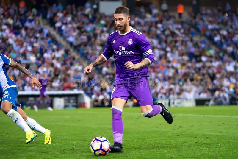 Sergio Ramos sztuki przy losem angeles Liga dopasowywają między rcd espanyol i Real Madrid CF przy RCDE stadium obrazy stock