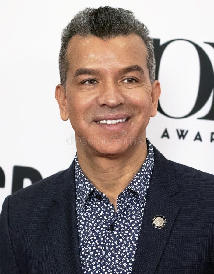 Sergio Trujillo bij 2019 Tony Awards Meet de Benoemden drukt Kwark stock afbeeldingen