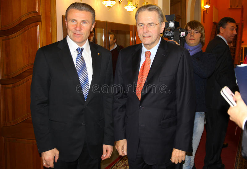 Serhiy Bubka And Jacques Rogge Editorial Image