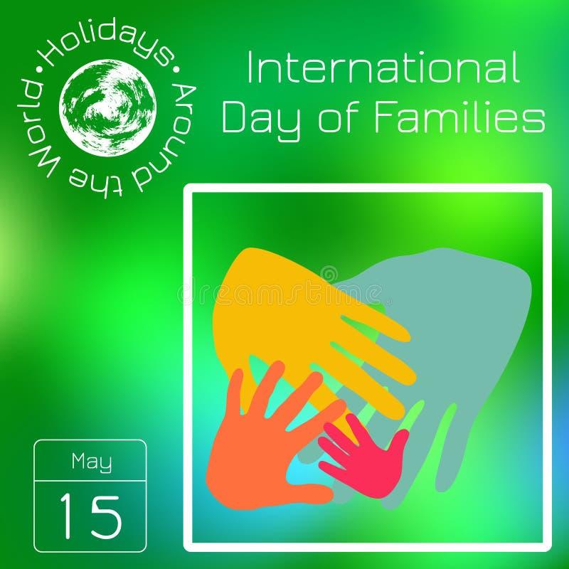 Seria kalendarz Wakacje Dookoła Świata Wydarzenie każdego dnia rok Międzynarodowy dzień rodziny ilustracja wektor