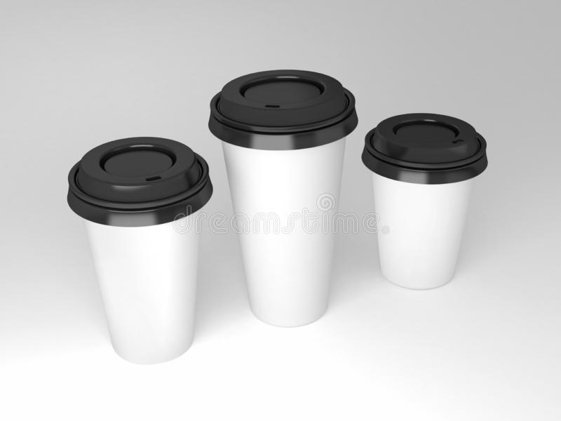 Serial image paper coffee cups for presentation logo or illustration royalty free stock image