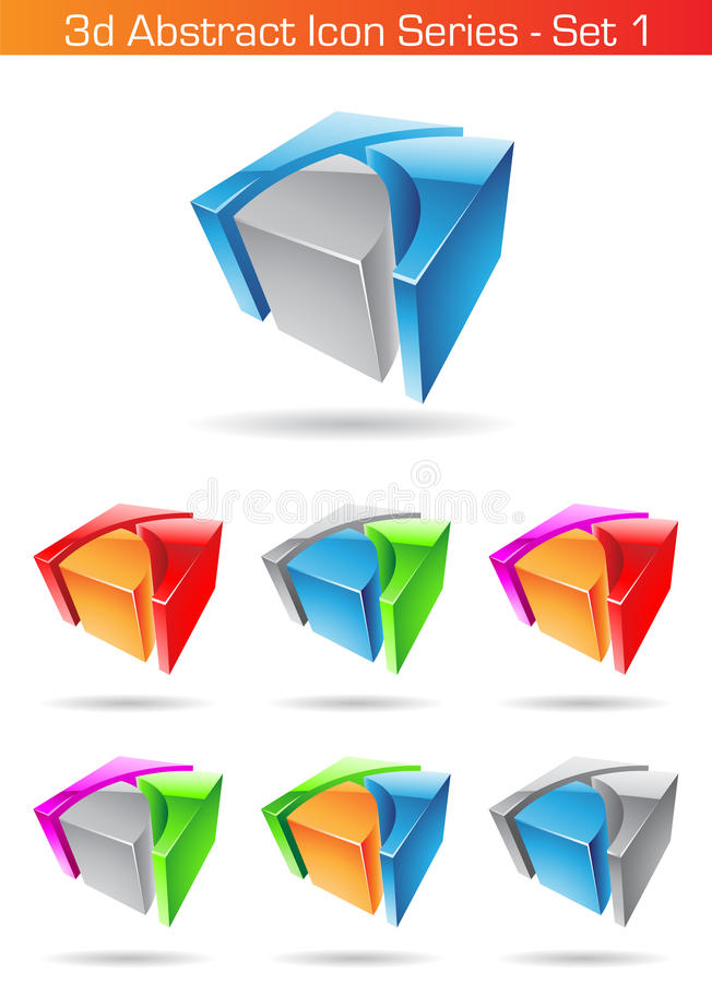 serie abstracta del icono 3d - conjunto 1 stock de ilustración