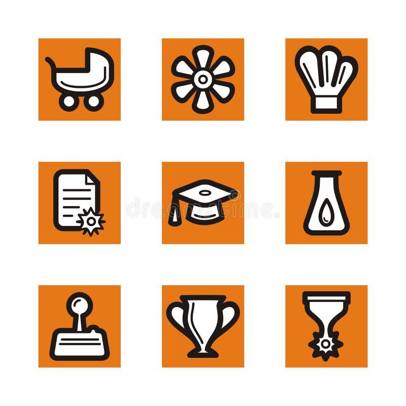 Serie arancione dell'icona illustrazione di stock