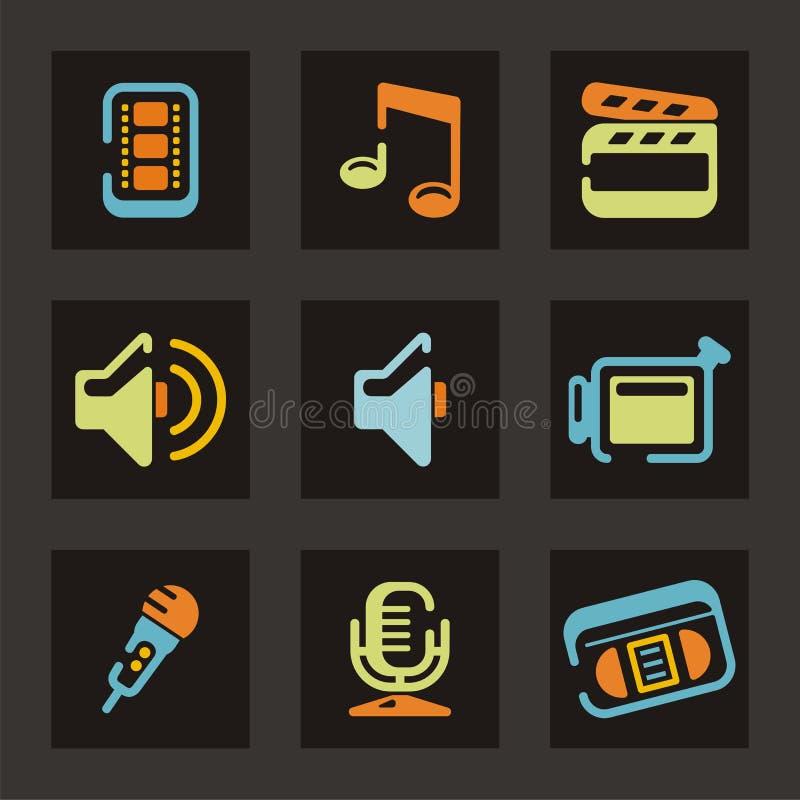 Serie audio y video del icono stock de ilustración