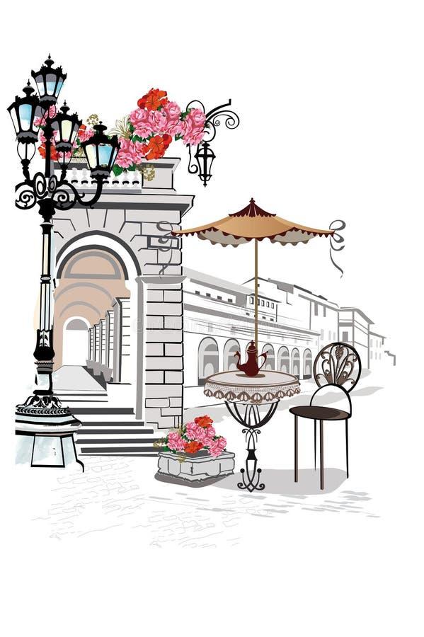 Serie av bakgrunder som dekoreras med blommor, gamla stadsikter och gatakaféer royaltyfri illustrationer