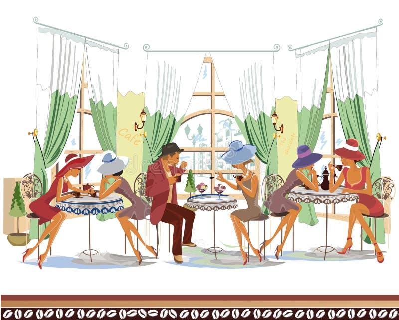 Serie av folk inom kafét som dricker kaffe royaltyfri illustrationer