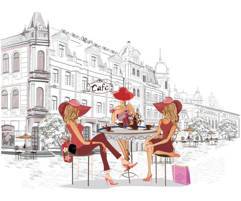 Serie av gatakaféerna med modeflickor i den gamla staden royaltyfri illustrationer