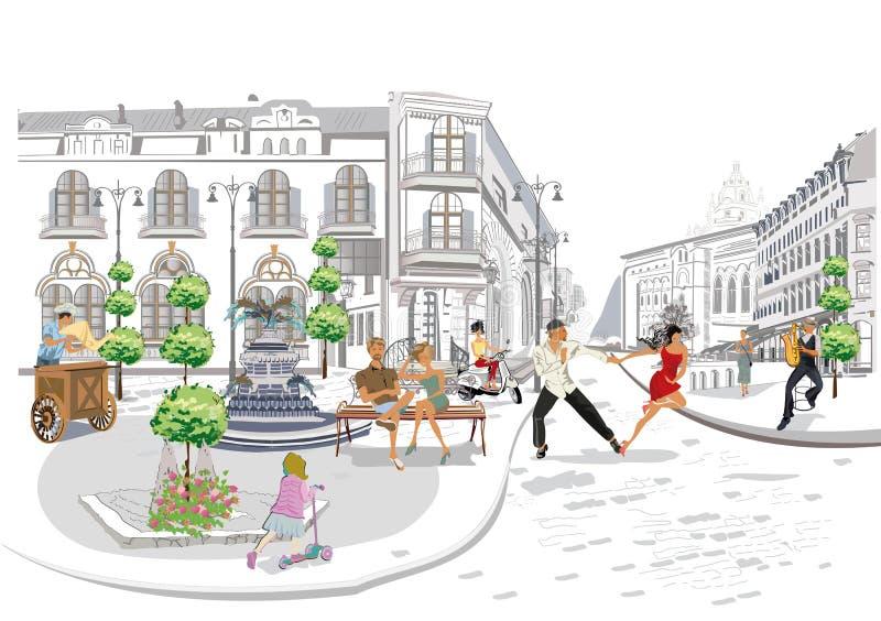 Serie av gatakaf?erna med modefolk, m?n och kvinnor, i den gamla staden, vektorillustration stock illustrationer