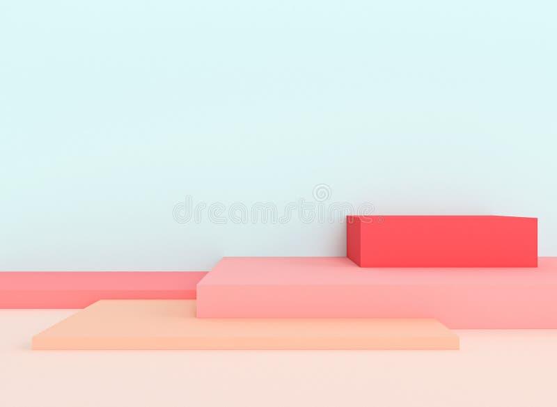Serie av geometriska diagram som bildar ett asymmetriskt podium royaltyfri illustrationer