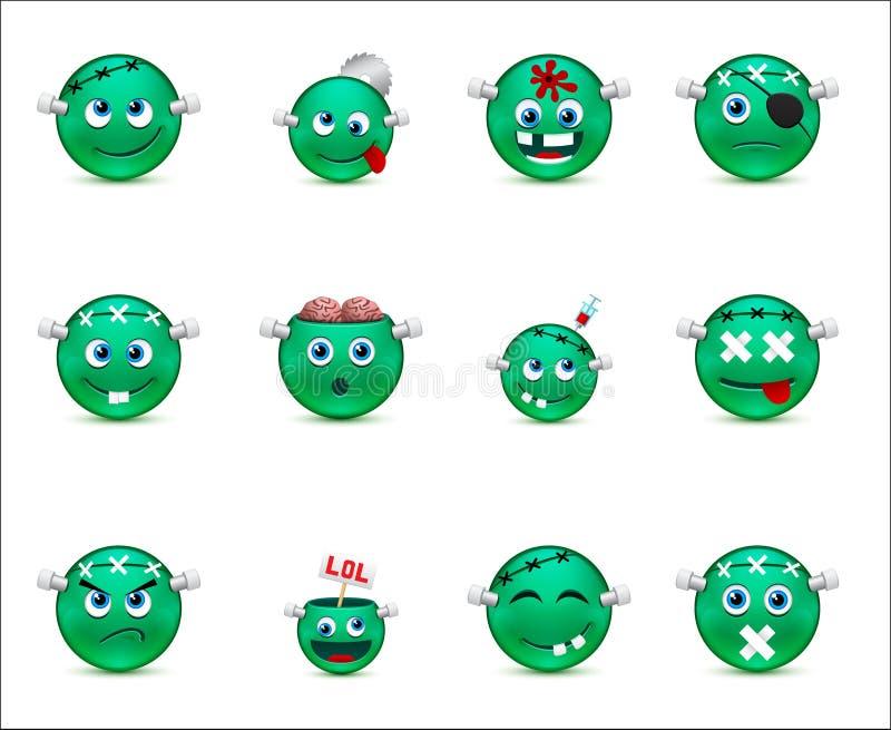 Serie av gröna smilies-stil levande död royaltyfri illustrationer