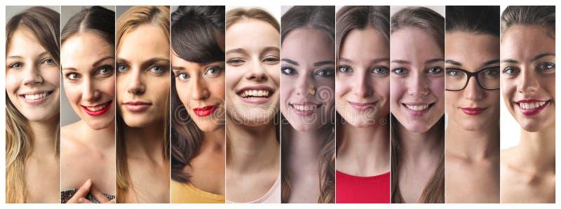 Serie av kvinnaframsidor royaltyfria bilder