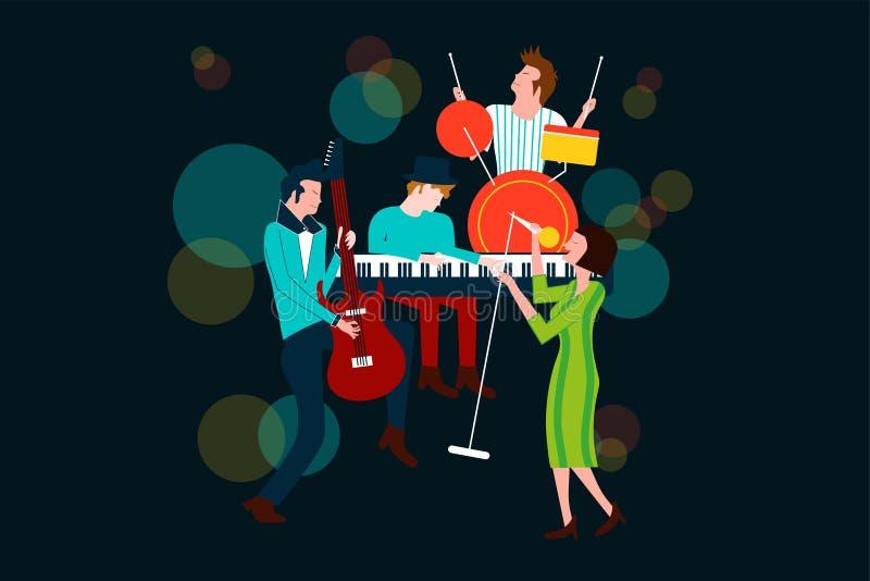 Serie av musikkonsertsammansättning med män och kvinnor som sjunger och spelar den elektriska gitarren, pianot och valsen royaltyfri illustrationer