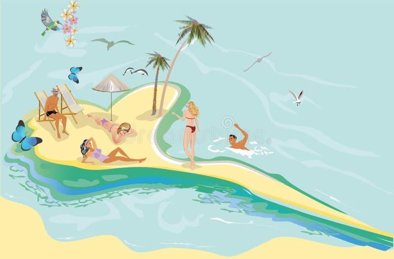 Serie av sommarbakgrunder med bl? himmel och havsvatten, sol vektor illustrationer