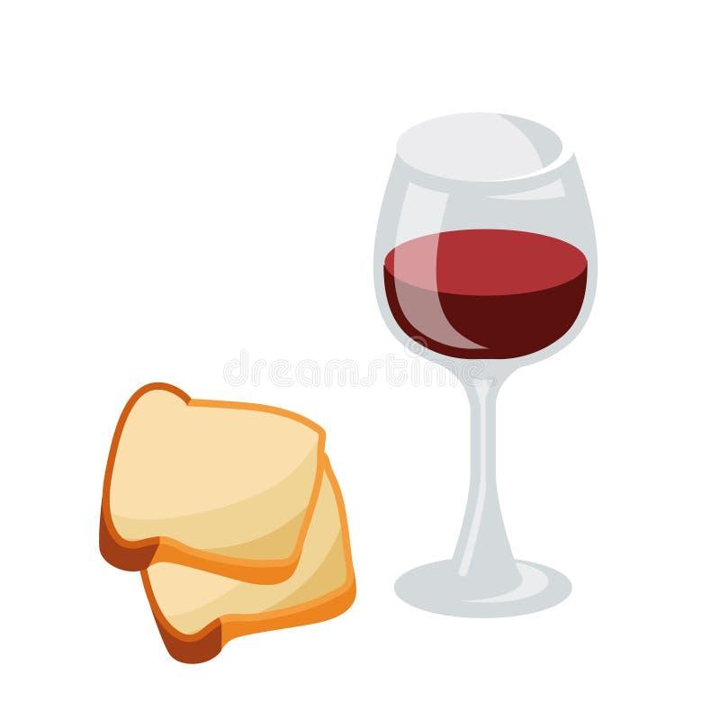 Serie av symboler för påsktemat dietary mat Ett exponeringsglas av vin och en skiva av bröd Mat för tankemat för fastlagen royaltyfri illustrationer