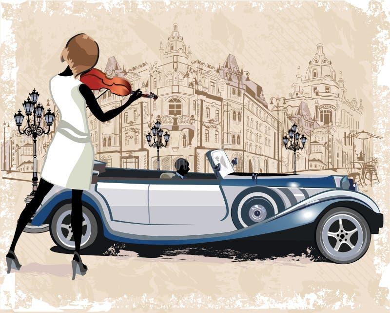 Serie av tappningbakgrunder som dekoreras med retro bilar, musiker, gamla stadsikter och gatakaféer royaltyfri illustrationer