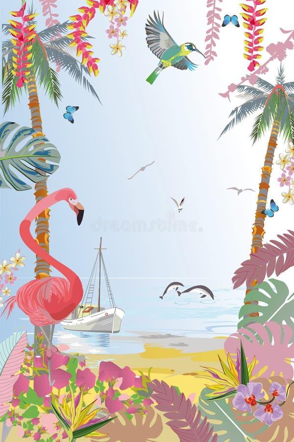 Serie av tropiska bakgrunder med fåglar och djur vektor illustrationer