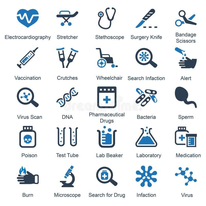 Serie azul del equipamiento médico y de las fuentes - sistema 1 libre illustration