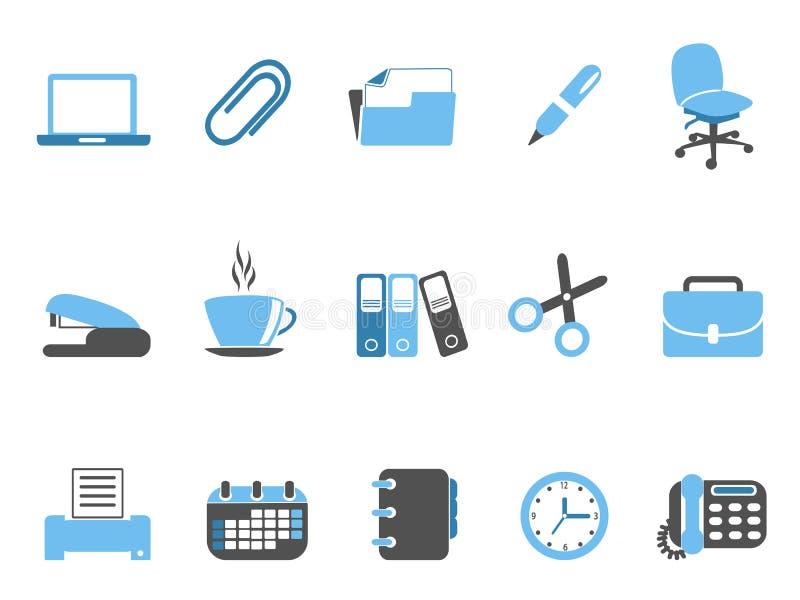 Serie azul determinada del icono de las herramientas de la for Herramientas de oficina